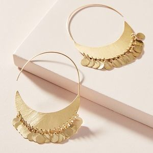 Anthropologie Cara Coin Hoop Earrings NEW